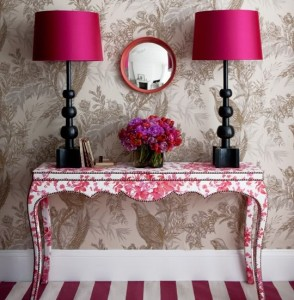 beige-and-pink-chic-hallway-with-upholstered-console-table