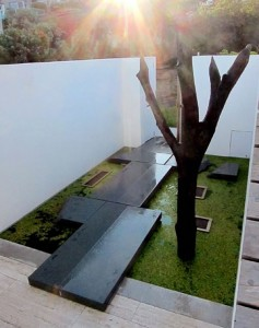 floating entry steps over pond bronte residence terragram